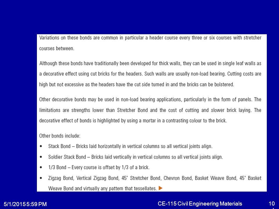 5/1/2015 6:01 PM CE-115 Civil Engineering Materials101