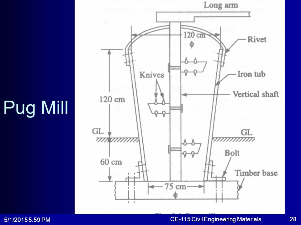 5/1/2015 6:01 PM CE-115 Civil Engineering Materials28 Pug Mill