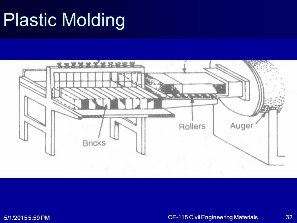 5/1/2015 6:01 PM CE-115 Civil Engineering Materials32 Plastic Molding