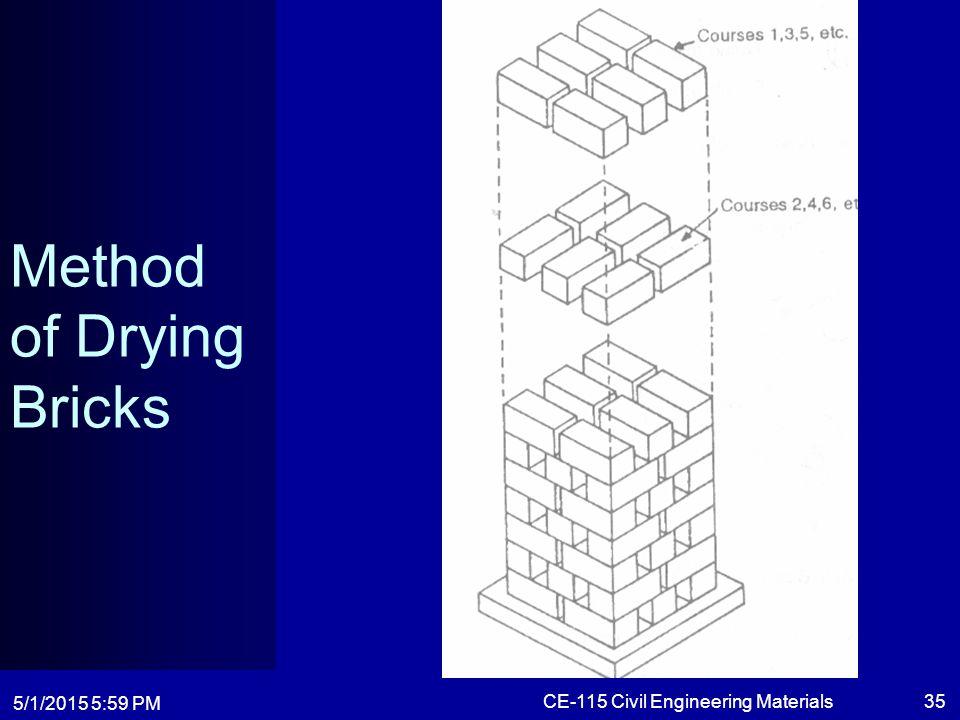 5/1/2015 6:01 PM CE-115 Civil Engineering Materials35 Method of Drying Bricks