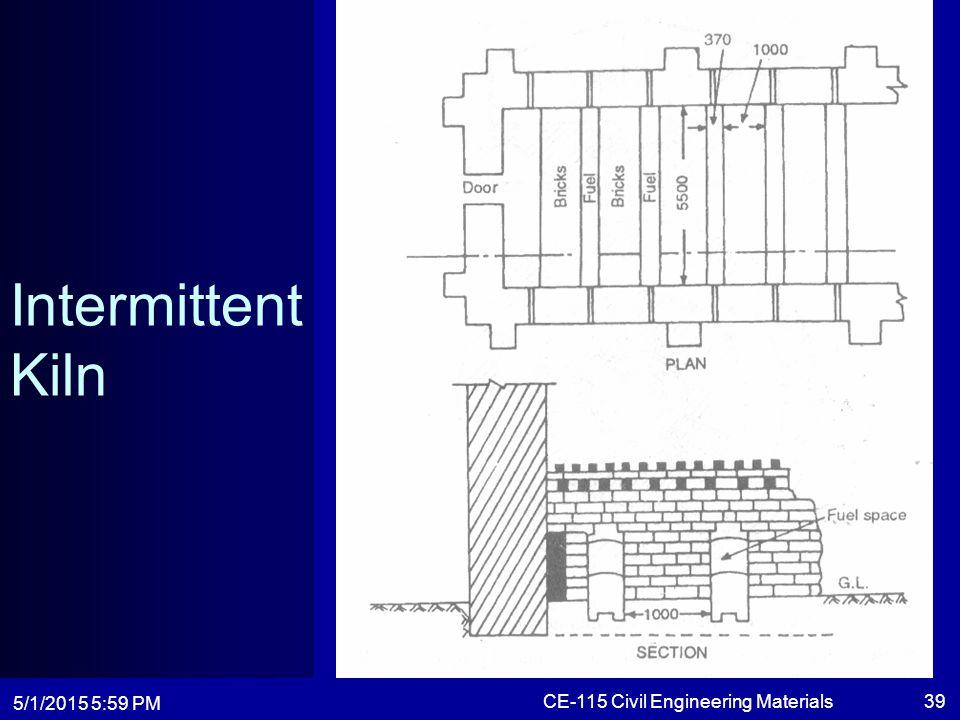 5/1/2015 6:01 PM CE-115 Civil Engineering Materials39 Intermittent Kiln