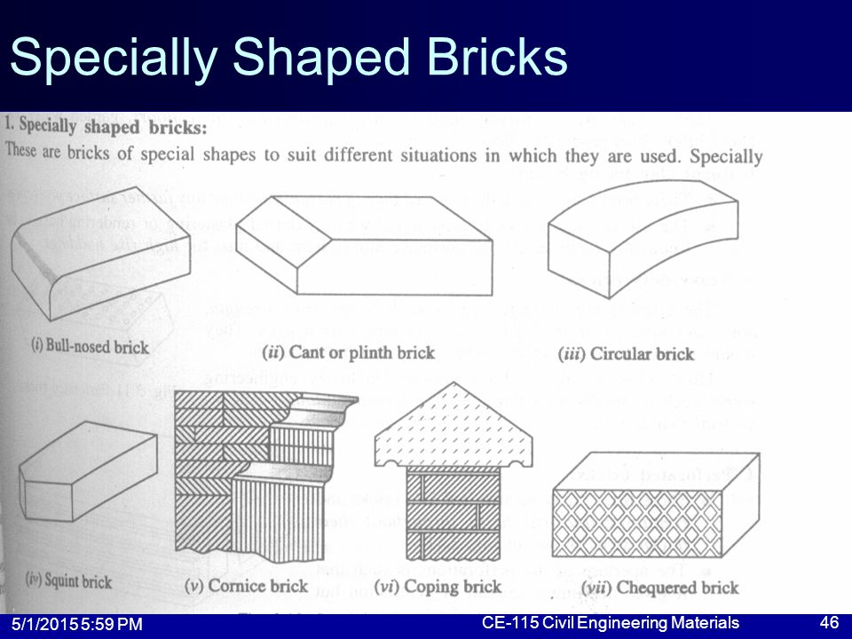 5/1/2015 6:01 PM CE-115 Civil Engineering Materials46 Specially Shaped Bricks