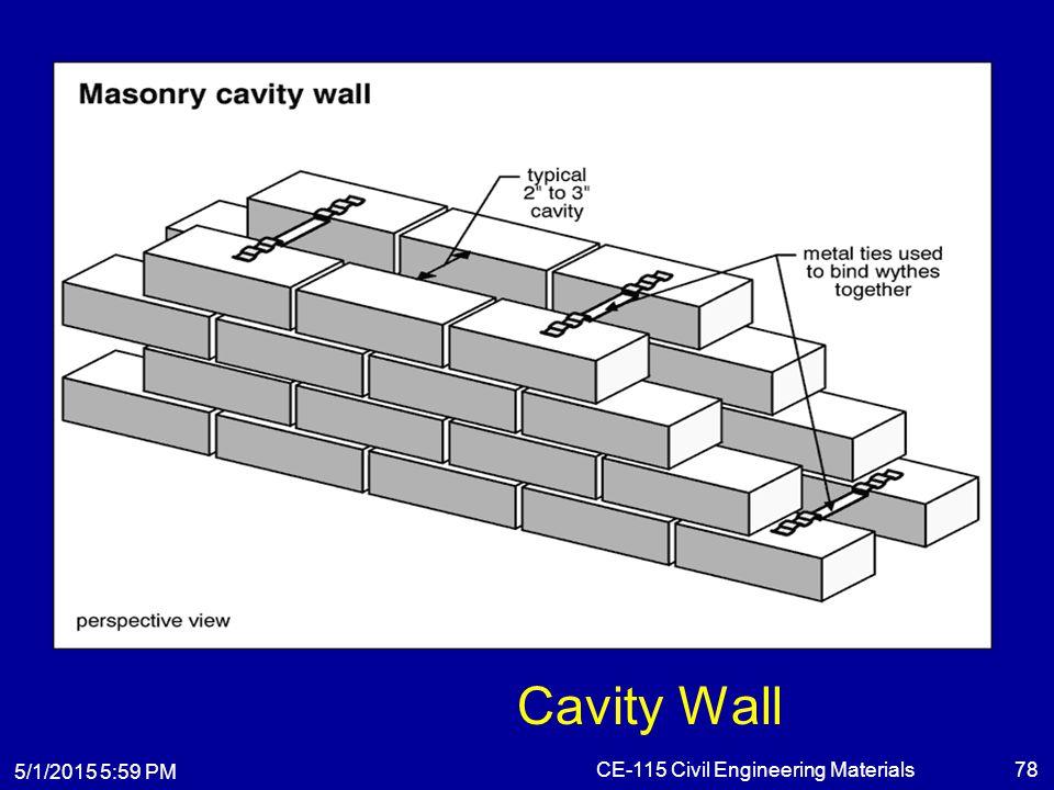 5/1/2015 6:01 PM CE-115 Civil Engineering Materials78 Cavity Wall