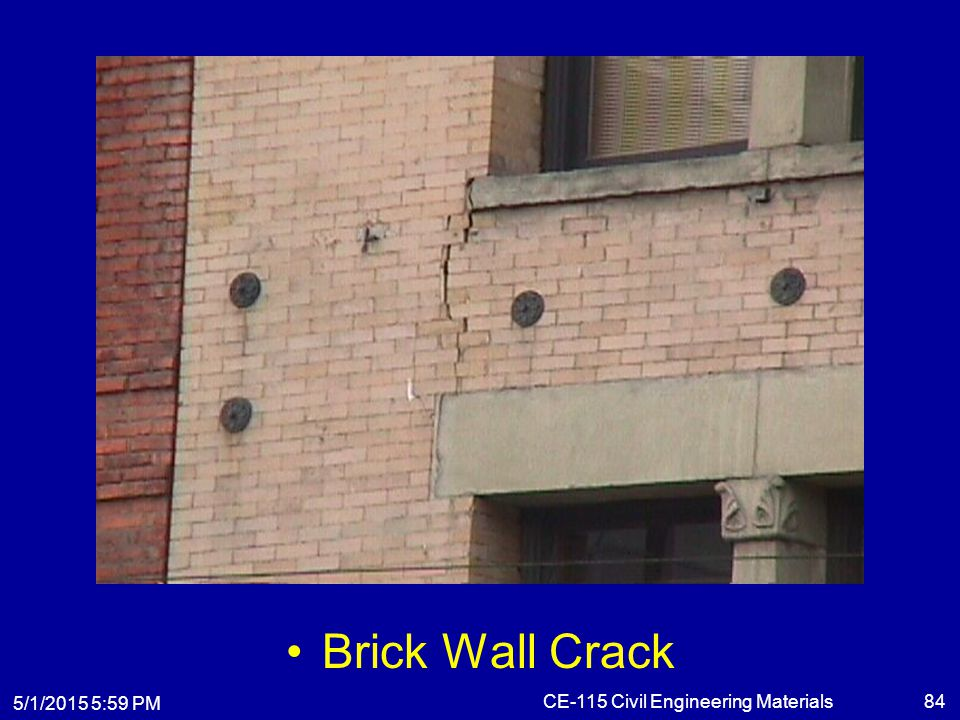 5/1/2015 6:01 PM CE-115 Civil Engineering Materials84 Brick Wall Crack