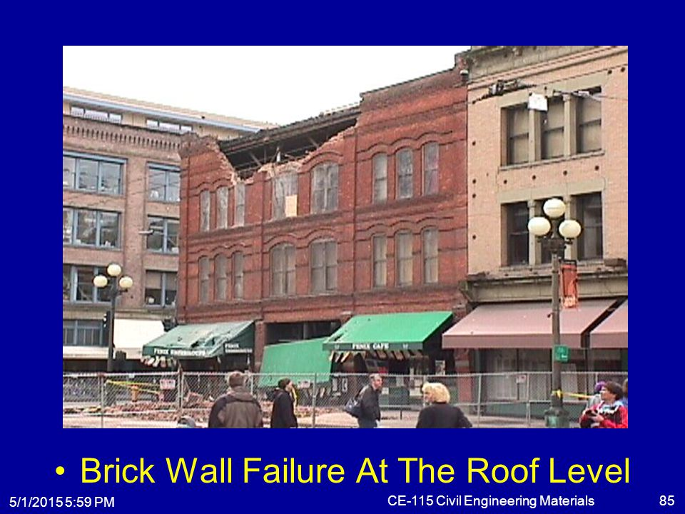 5/1/2015 6:01 PM CE-115 Civil Engineering Materials85 Brick Wall Failure At The Roof Level