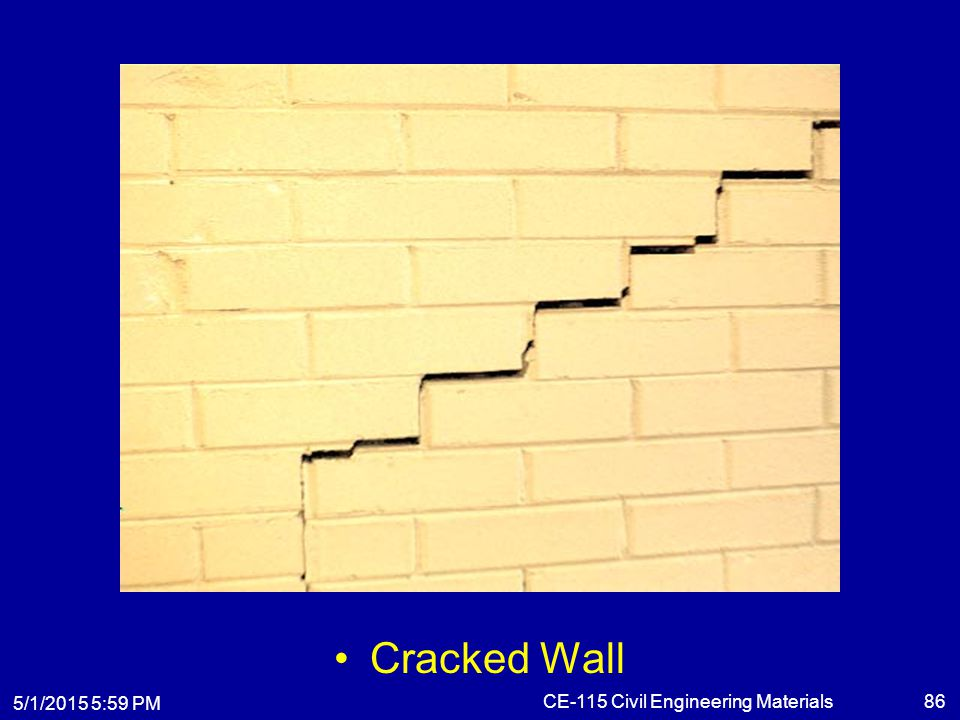 5/1/2015 6:01 PM CE-115 Civil Engineering Materials86 Cracked Wall