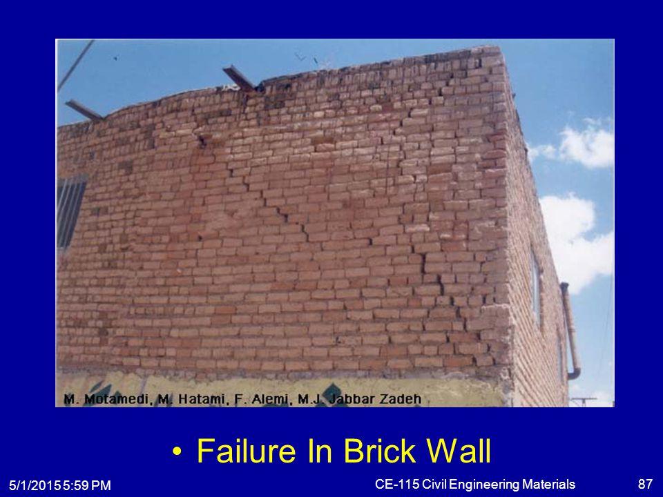 5/1/2015 6:01 PM CE-115 Civil Engineering Materials87 Failure In Brick Wall