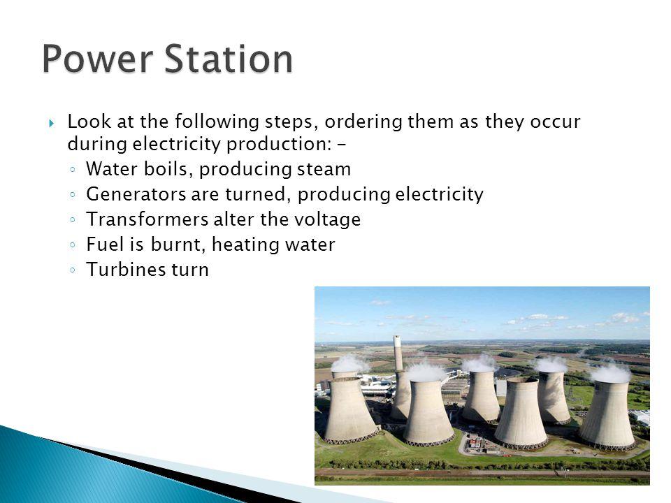 1.Fuel is burnt, heating water 2. Water boils, producing steam 3.