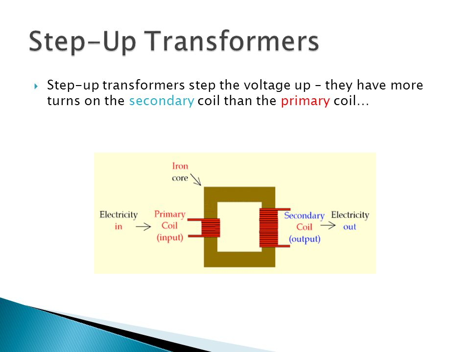  Step-down transformers step the voltage down – they have more turns on the primary coil than the secondary coil…