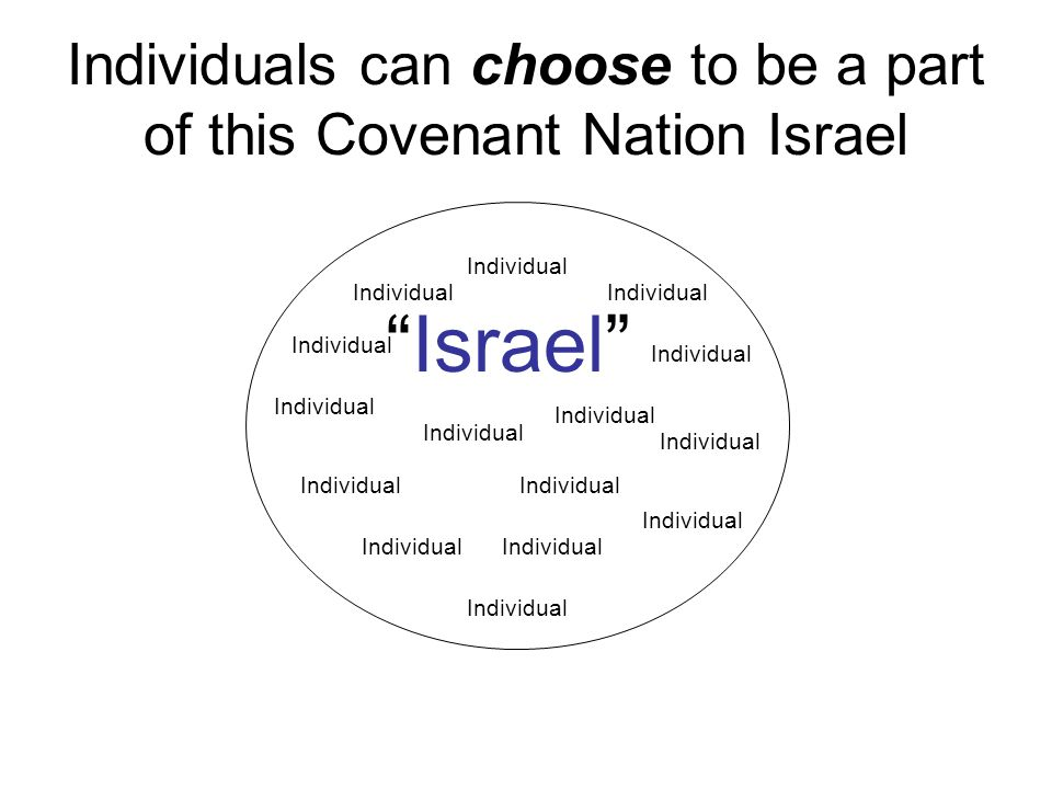 Individuals can choose to be a part of this Covenant Nation Israel Israel Individual