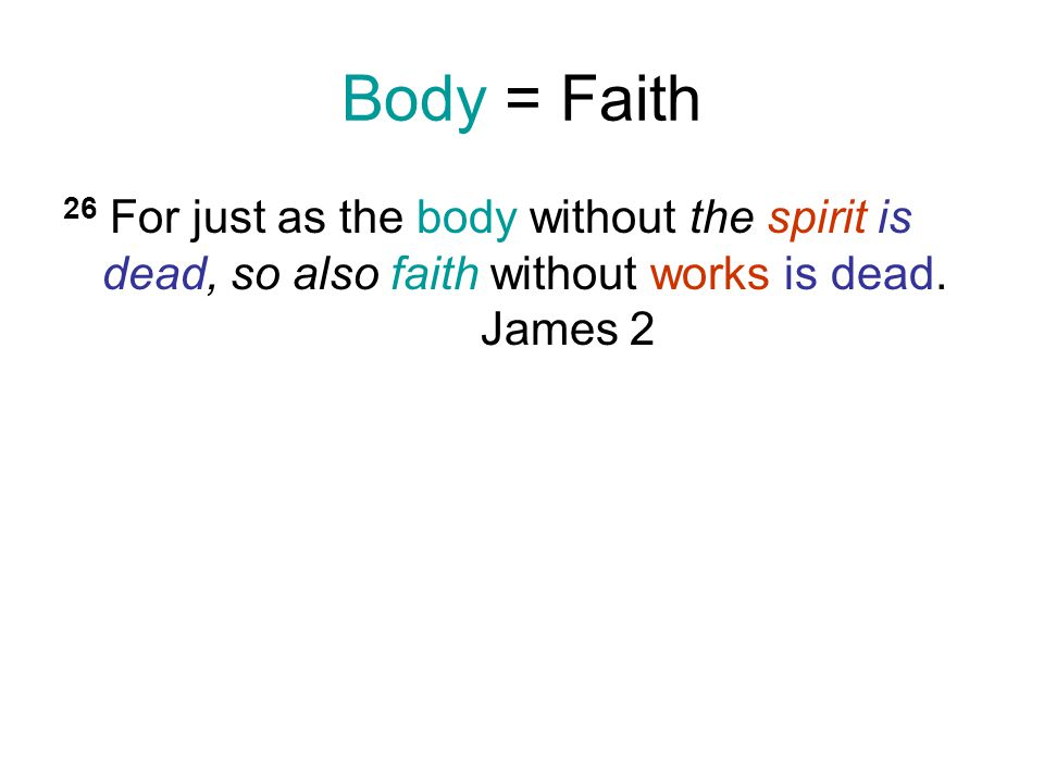 Body = Faith 26 For just as the body without the spirit is dead, so also faith without works is dead.