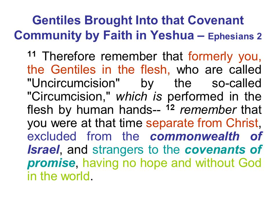 Gentiles Brought Into that Covenant Community by Faith in Yeshua – Ephesians 2 11 Therefore remember that formerly you, the Gentiles in the flesh, who are called Uncircumcision by the so-called Circumcision, which is performed in the flesh by human hands-- 12 remember that you were at that time separate from Christ, excluded from the commonwealth of Israel, and strangers to the covenants of promise, having no hope and without God in the world.