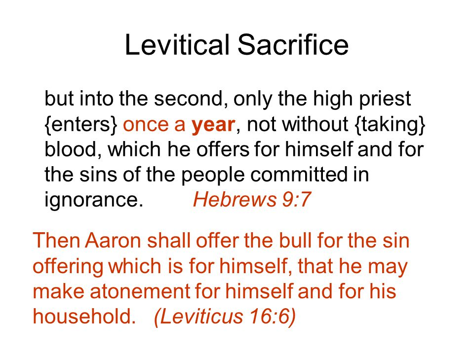 Levitical Sacrifice but into the second, only the high priest {enters} once a year, not without {taking} blood, which he offers for himself and for the sins of the people committed in ignorance.