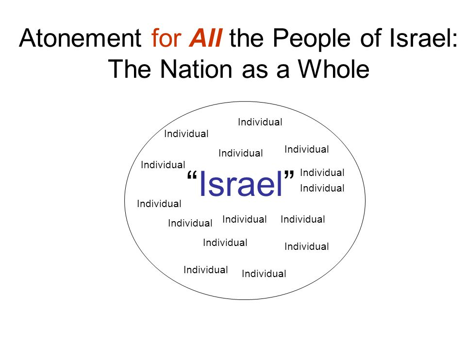 Atonement for All the People of Israel: The Nation as a Whole Israel Individual