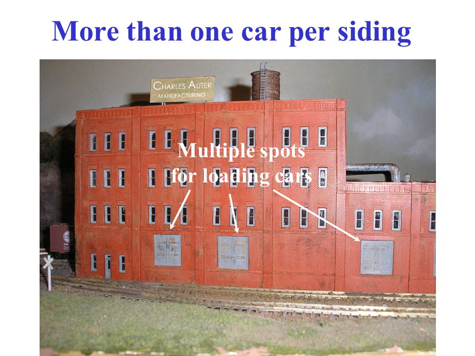 More than one car per siding Multiple spots for loading cars
