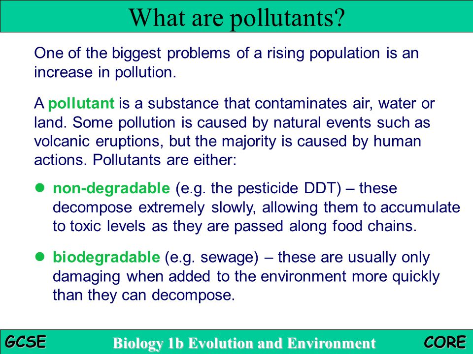Biology 1b Evolution and Environment GCSE CORE What are pollutants.
