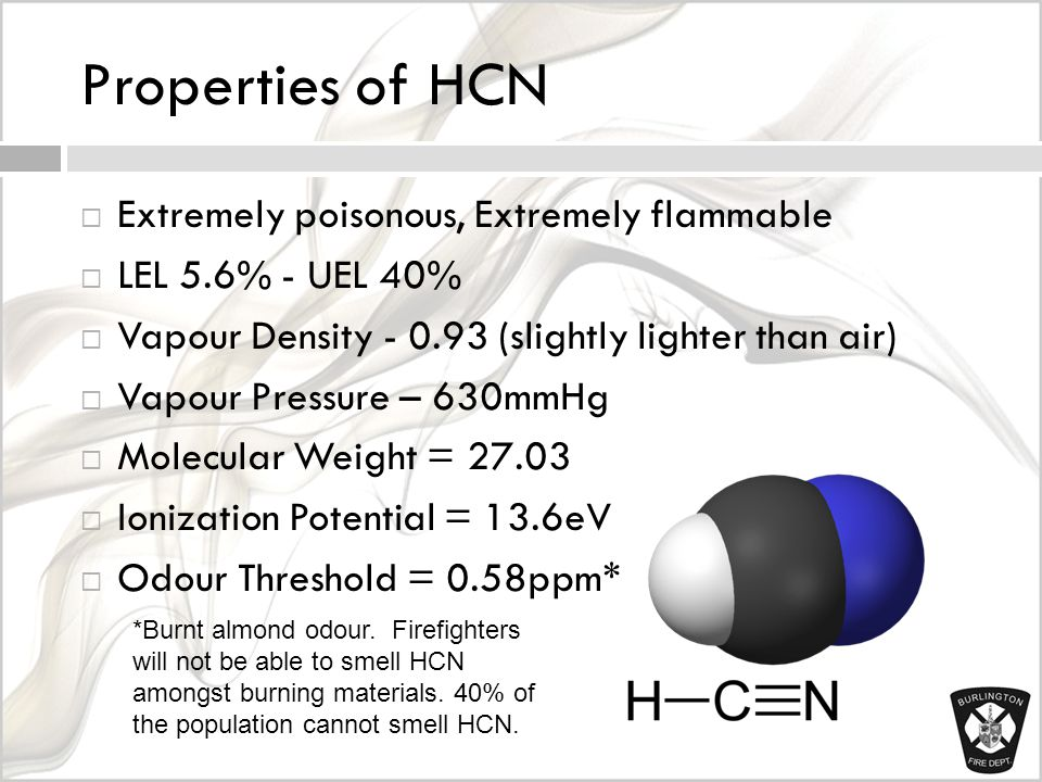 Properties of HCN  Extremely poisonous, Extremely flammable  LEL 5.6% - UEL 40%  Vapour Density - 0.93 (slightly lighter than air)  Vapour Pressure – 630mmHg  Molecular Weight = 27.03  Ionization Potential = 13.6eV  Odour Threshold = 0.58ppm* *Burnt almond odour.