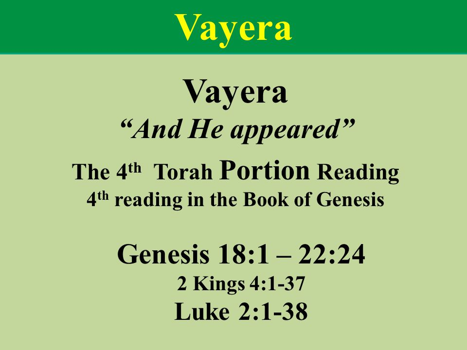 Vayera And He appeared The 4 th Torah Portion Reading 4 th reading in the Book of Genesis Genesis 18:1 – 22:24 2 Kings 4:1-37 Luke 2:1-38 Vayera