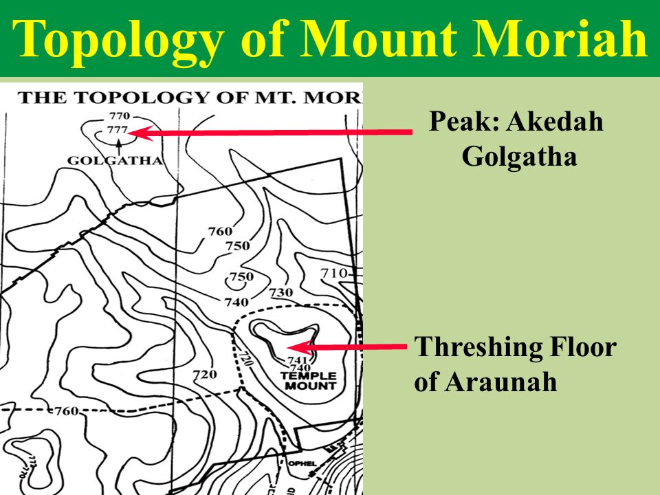 Topology of Mount Moriah Peak: Akedah Golgatha Threshing Floor of Araunah