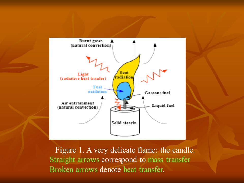 Figure 1. A very delicate flame: the candle. Straight arrows correspond to mass transfer Broken arrows denote heat transfer.