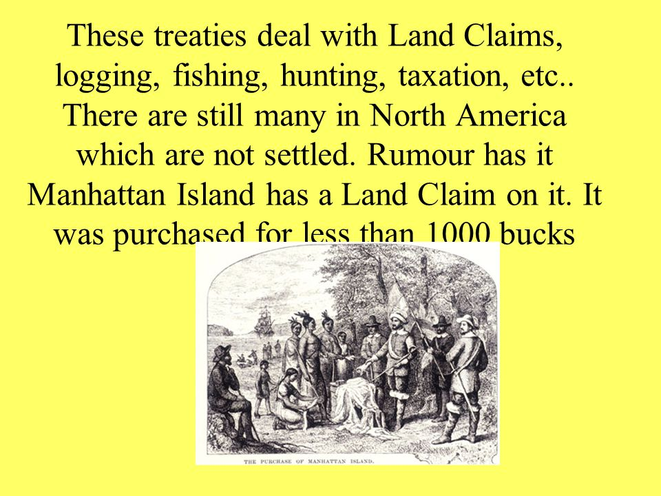 These treaties deal with Land Claims, logging, fishing, hunting, taxation, etc..