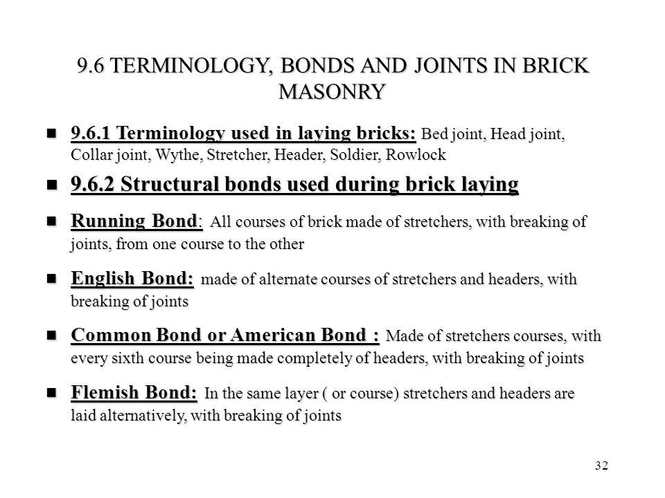 32 9.6 TERMINOLOGY, BONDS AND JOINTS IN BRICK MASONRY 9.6.1 Terminology used in laying bricks: Bed joint, Head joint, Collar joint, Wythe, Stretcher,