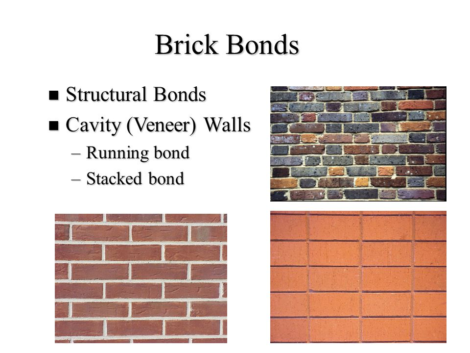 35 Brick Bonds Structural Bonds Structural Bonds Cavity (Veneer) Walls Cavity (Veneer) Walls –Running bond –Stacked bond