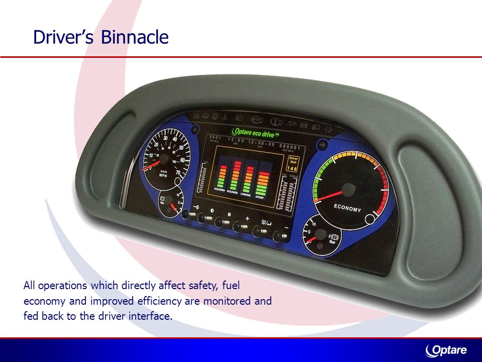 All operations which directly affect safety, fuel economy and improved efficiency are monitored and fed back to the driver interface.