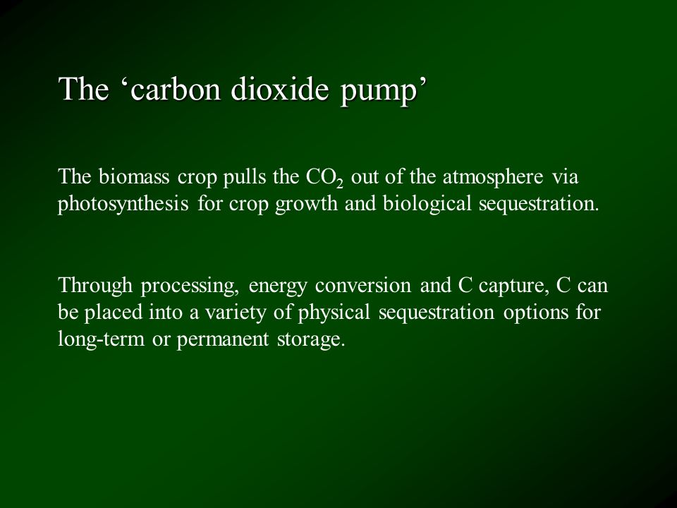 The 'carbon dioxide pump' The biomass crop pulls the CO 2 out of the atmosphere via photosynthesis for crop growth and biological sequestration.