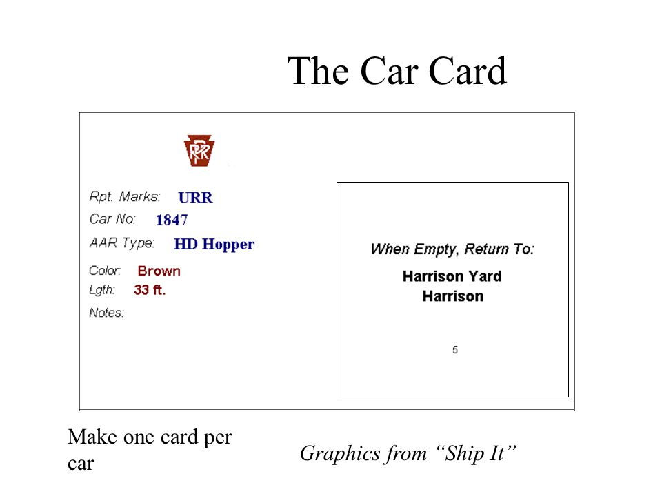 """The Car Card Graphics from """"Ship It"""" Make one card per car"""