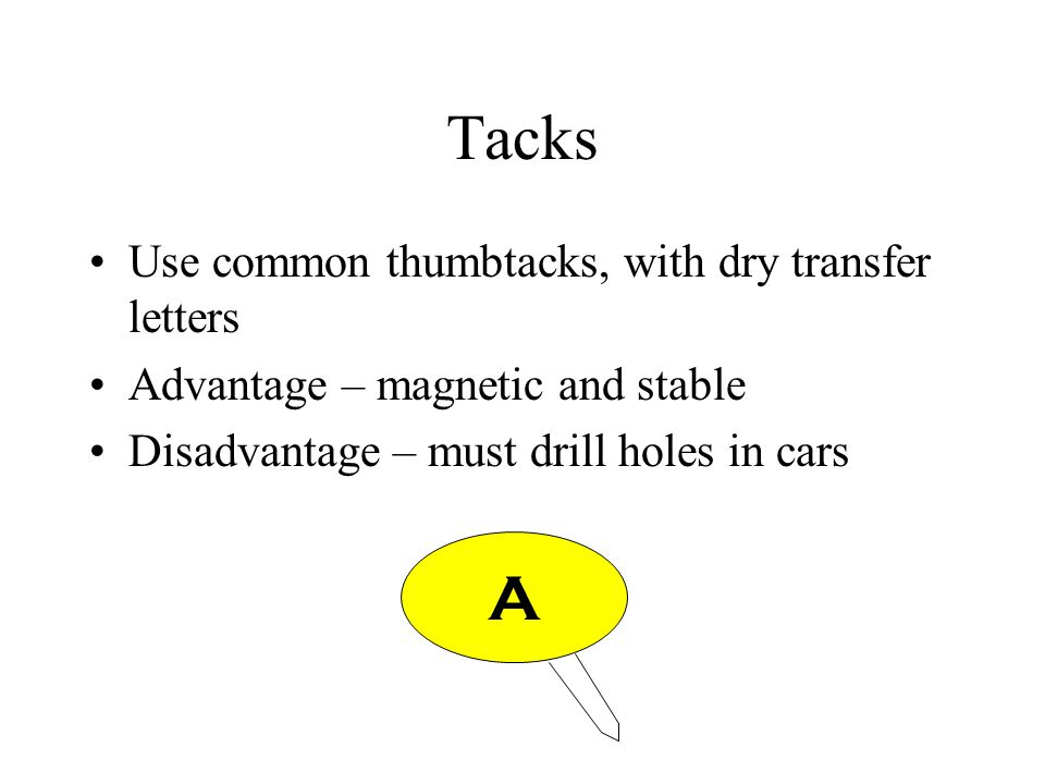 Tacks Use common thumbtacks, with dry transfer letters Advantage – magnetic and stable Disadvantage – must drill holes in cars A