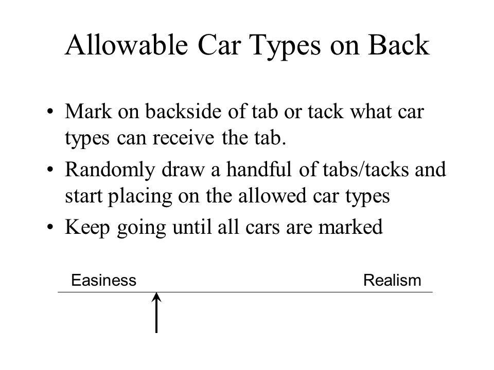 Allowable Car Types on Back Mark on backside of tab or tack what car types can receive the tab. Randomly draw a handful of tabs/tacks and start placin