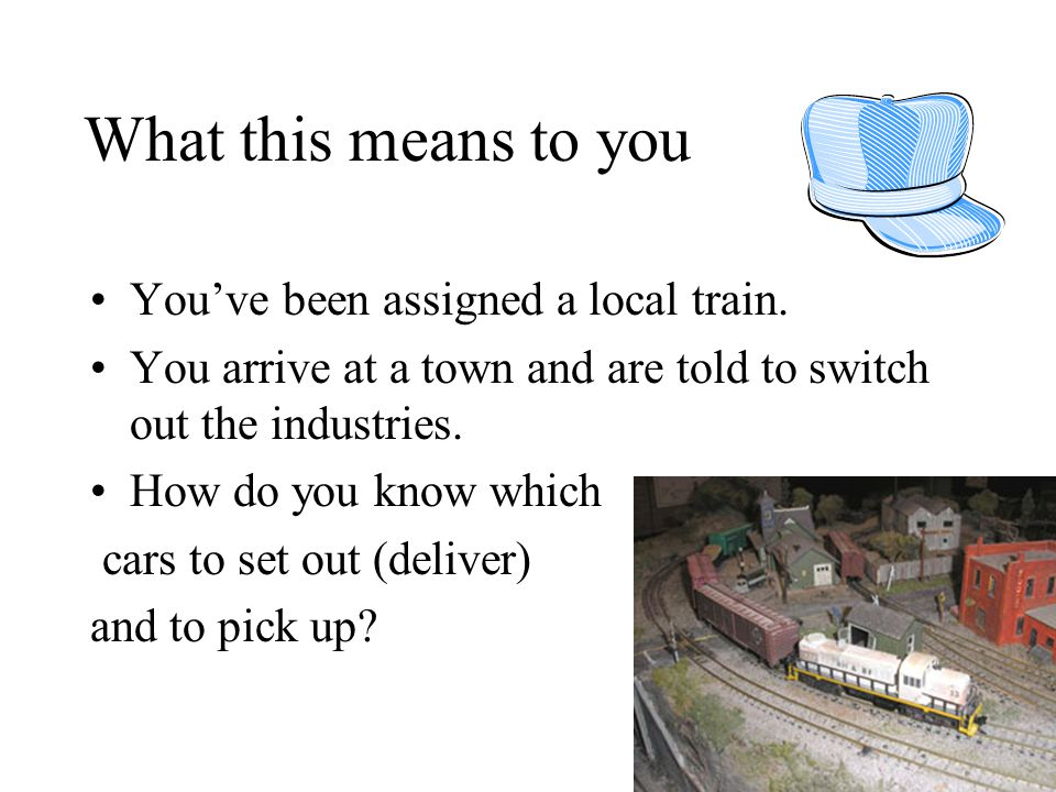 What this means to you You've been assigned a local train. You arrive at a town and are told to switch out the industries. How do you know which cars