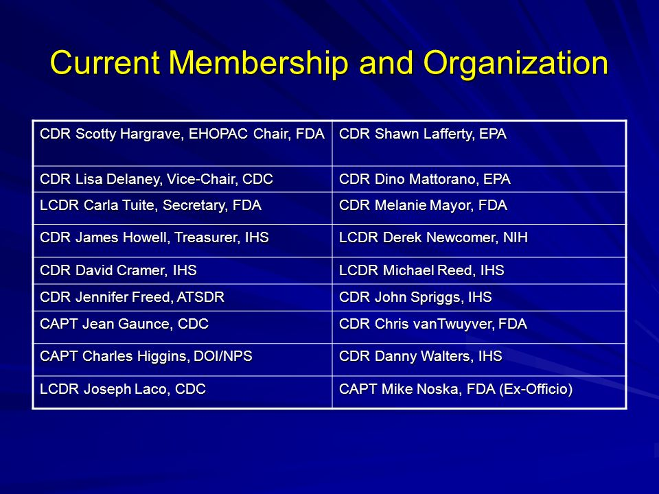 Current Membership and Organization CDR Scotty Hargrave, EHOPAC Chair, FDA CDR Shawn Lafferty, EPA CDR Lisa Delaney, Vice-Chair, CDC CDR Dino Mattorano, EPA LCDR Carla Tuite, Secretary, FDA CDR Melanie Mayor, FDA CDR James Howell, Treasurer, IHS LCDR Derek Newcomer, NIH CDR David Cramer, IHS LCDR Michael Reed, IHS CDR Jennifer Freed, ATSDR CDR John Spriggs, IHS CAPT Jean Gaunce, CDC CDR Chris vanTwuyver, FDA CAPT Charles Higgins, DOI/NPS CDR Danny Walters, IHS LCDR Joseph Laco, CDC CAPT Mike Noska, FDA (Ex-Officio)