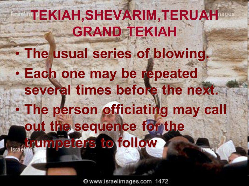 TEKIAH,SHEVARIM,TERUAH GRAND TEKIAH The usual series of blowing.The usual series of blowing. Each one may be repeated several times before the next.Ea