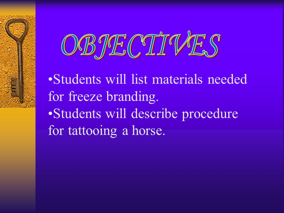 Students will list materials needed for freeze branding. Students will describe procedure for tattooing a horse.