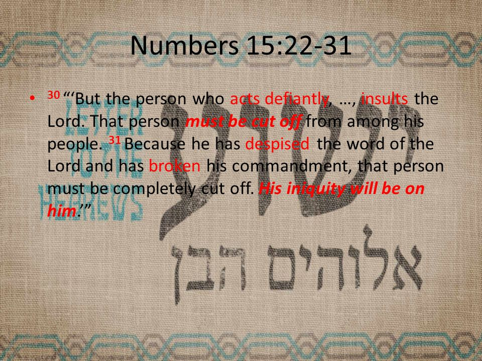 Numbers 15:22-31 30 'But the person who acts defiantly, …, insults the Lord.