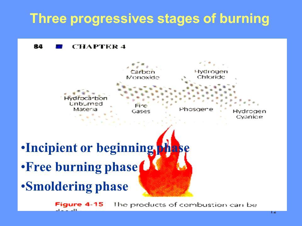 12 Three progressives stages of burning Incipient or beginning phase Free burning phase Smoldering phase