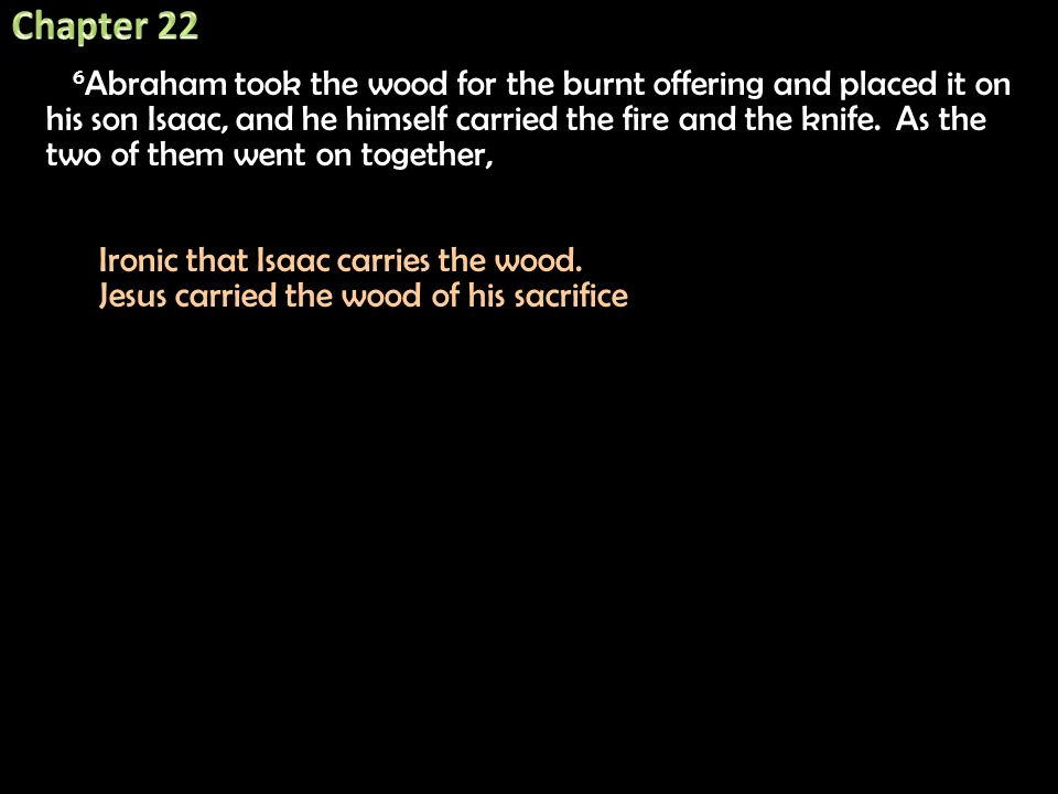 6 Abraham took the wood for the burnt offering and placed it on his son Isaac, and he himself carried the fire and the knife. As the two of them went