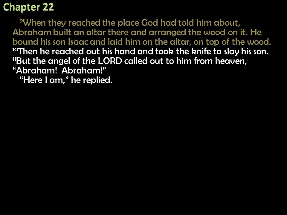 9 When they reached the place God had told him about, Abraham built an altar there and arranged the wood on it. He bound his son Isaac and laid him on