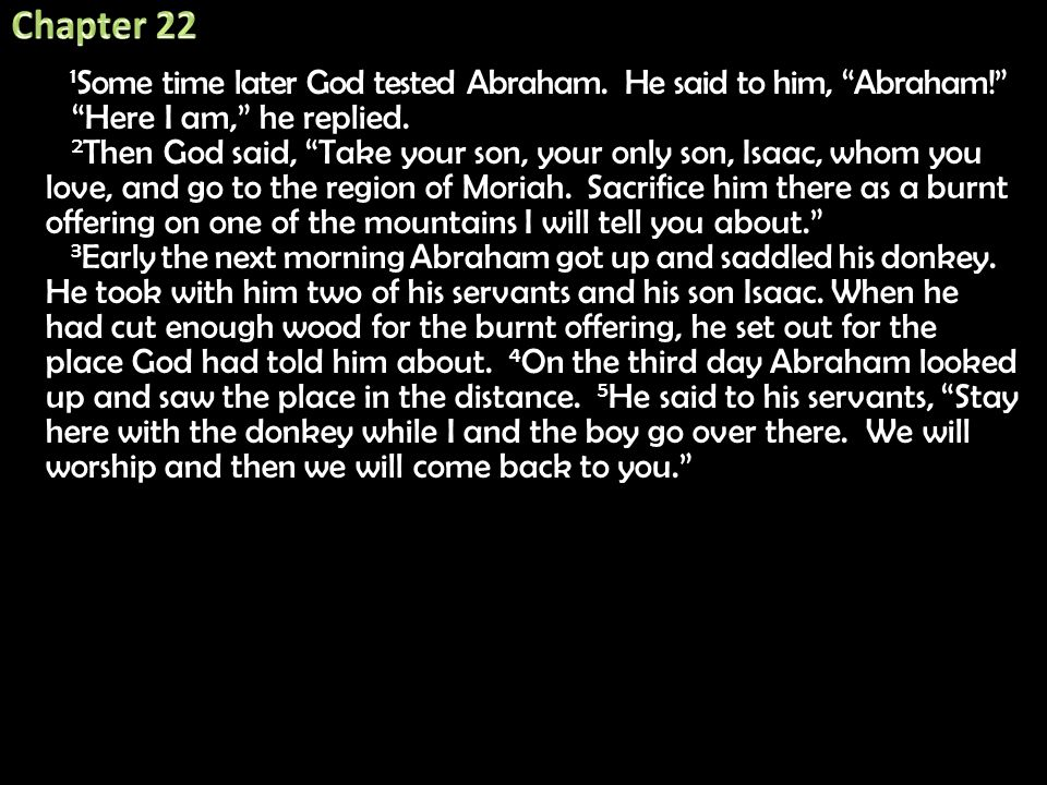 """1 Some time later God tested Abraham. He said to him, """"Abraham!"""" 1 Some time later God tested Abraham. He said to him, """"Abraham!"""" """"Here I am,"""" he repl"""