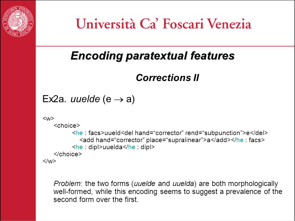 Encoding paratextual features Corrections II Ex2a.