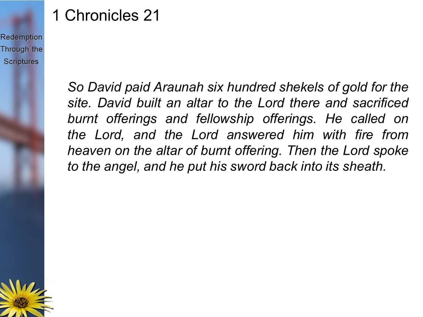 Redemption Through the Scriptures 1 Chronicles 21 So David paid Araunah six hundred shekels of gold for the site.