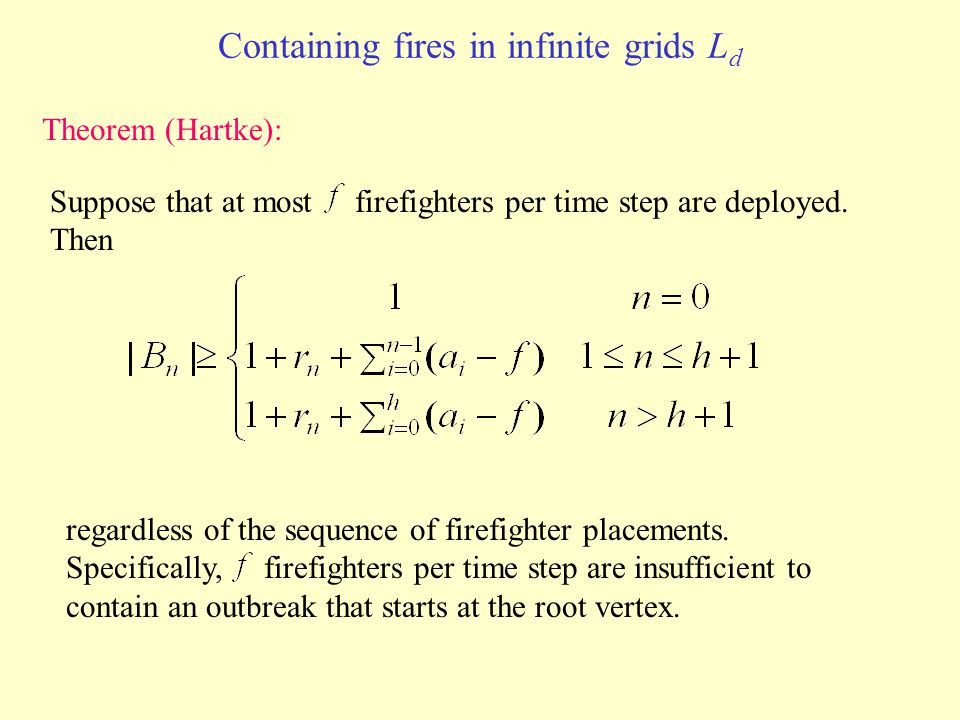 Containing fires in infinite grids L d Theorem (Hartke): Suppose that at most firefighters per time step are deployed.
