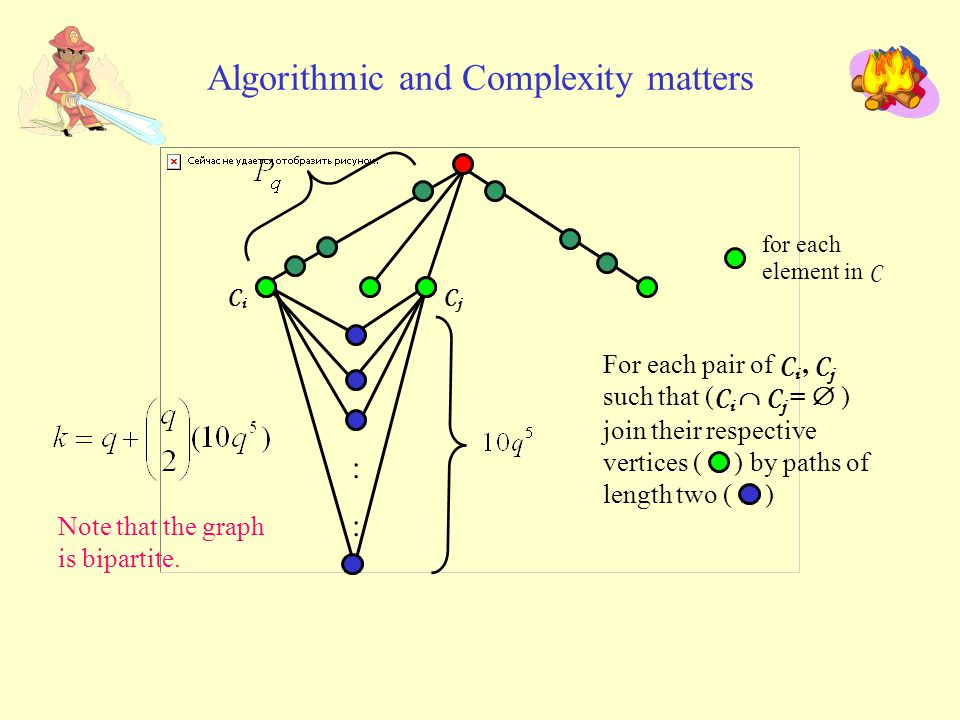 Algorithmic and Complexity matters for each element in C :::: CiCi CjCj For each pair of C i, C j such that ( C i  C j =  ) join their respective vertices ( ) by paths of length two ( ) Note that the graph is bipartite.