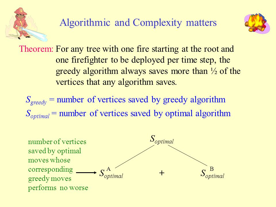 number of vertices saved by optimal moves whose corresponding greedy moves performs no worse Algorithmic and Complexity matters Theorem:For any tree with one fire starting at the root and one firefighter to be deployed per time step, the greedy algorithm always saves more than ½ of the vertices that any algorithm saves.