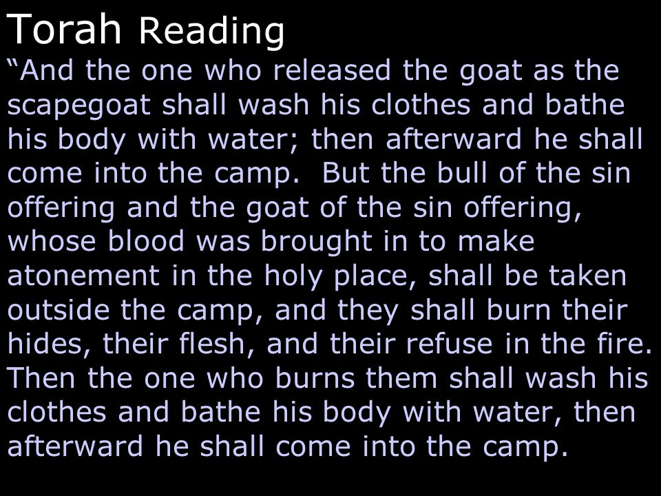"""Torah Reading """"And the one who released the goat as the scapegoat shall wash his clothes and bathe his body with water; then afterward he shall come i"""
