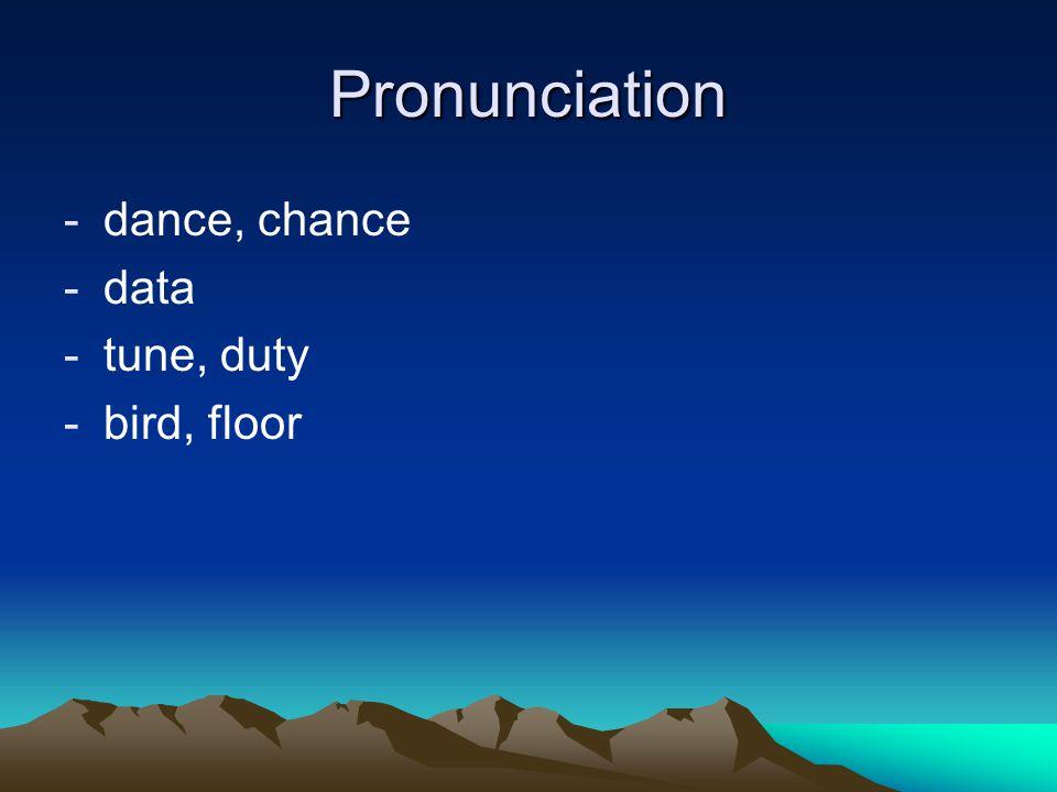Pronunciation -dance, chance -data -tune, duty -bird, floor