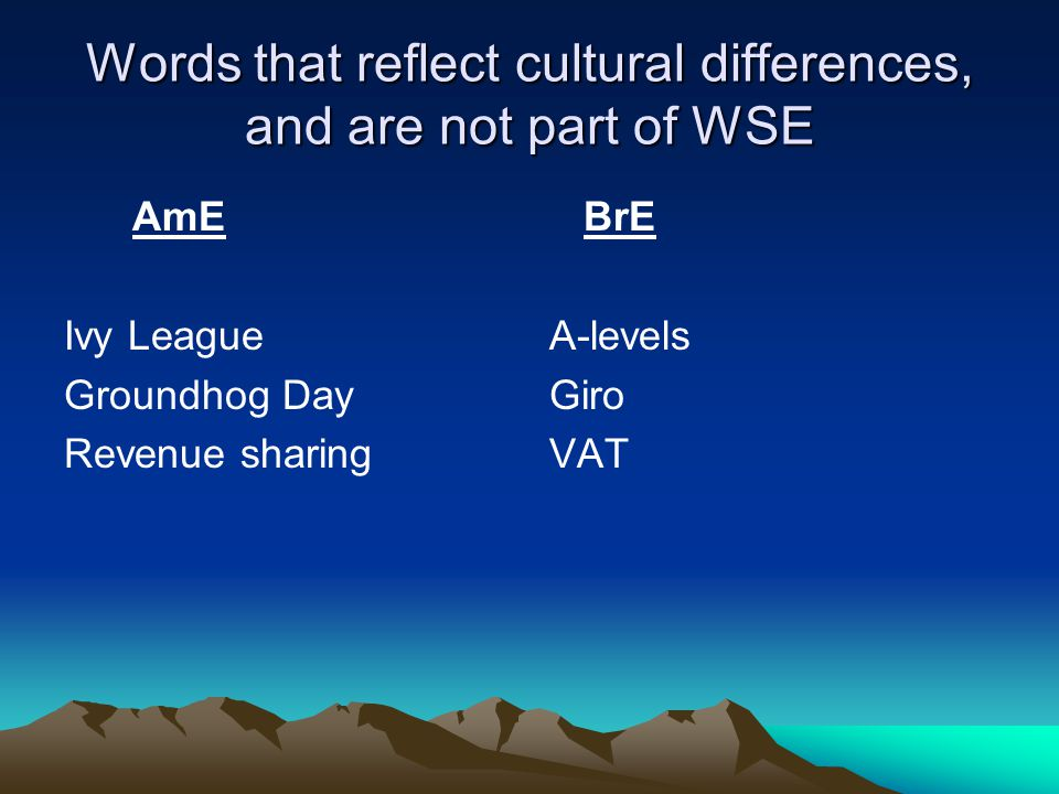 Words that reflect cultural differences, and are not part of WSE AmE Ivy League Groundhog Day Revenue sharing BrE A-levels Giro VAT