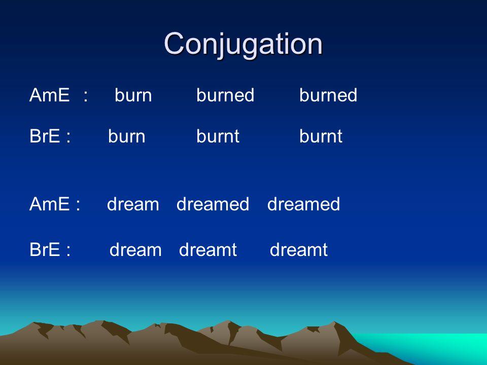 Conjugation AmE : burn burned burned BrE : burn burnt burnt AmE : dream dreamed dreamed BrE : dream dreamt dreamt